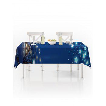 Christmas Starry Night Print Waterproof Tablecloth - BLUE W54 X L54 INCH