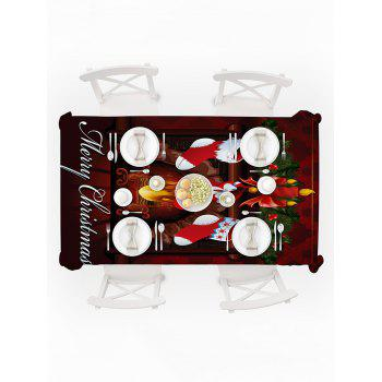 Christmas Fireplace Socks Print Waterproof Tablecloth - multicolor W54 X L54 INCH