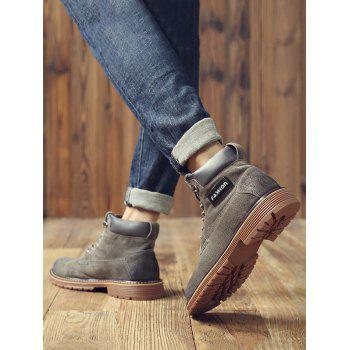 Retro Lace Up PU Leather Ankle Boots - GRAY EU 43