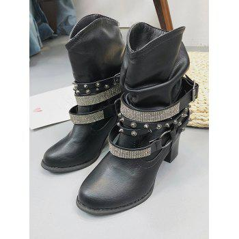 Bottines en strass à talon carré - Noir EU 40