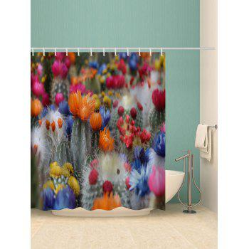Cactus Flowers Print Waterproof Shower Curtain - multicolor W71 X L71 INCH