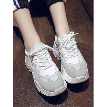 Color Block Breathable Chunky Walking Sneakers - WHITE EU 39