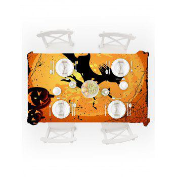 Halloween Moon Witch Print Waterproof Tablecloth - ORANGE W54 X L54 INCH