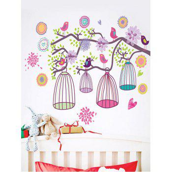 Flower Bird Tree Branch Printed Removable Wall Sticker - multicolor
