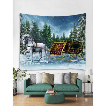 Christmas Sleigh Pattern Wall Tapestry Art Decoration - multicolor W91 X L71 INCH