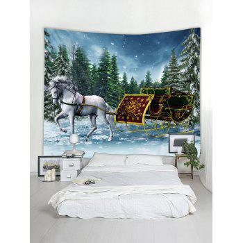 Christmas Sleigh Pattern Wall Tapestry Art Decoration - multicolor W59 X L51 INCH