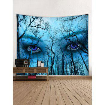 Forest Eyes Pattern Wall Tapestry Art Decoration - BLUE W79 X L79 INCH