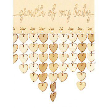 Wooden Growth of My Baby Calendar Board - BURLYWOOD HEART