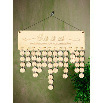 Wooden This is us Calendar Board - BURLYWOOD ROUND