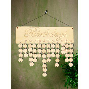 Wooden Birthday Calendar Board - BURLYWOOD ROUND