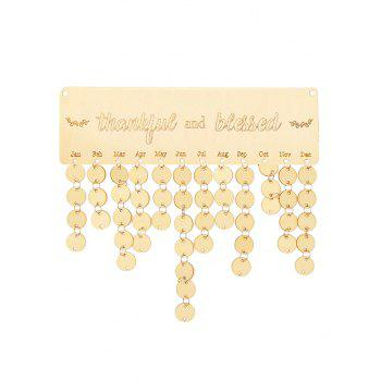 Wooden Thankful and Blessed Calendar Reminder - BURLYWOOD ROUND