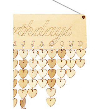 Wooden Birthday Calendar Board - BURLYWOOD HEART