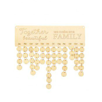 Wooden We Make One Family Calendar Board - BURLYWOOD ROUND