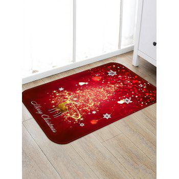 Christmas Snowflake Deer Print Decorative Flannel Floor Mat - RED W16 X L24 INCH
