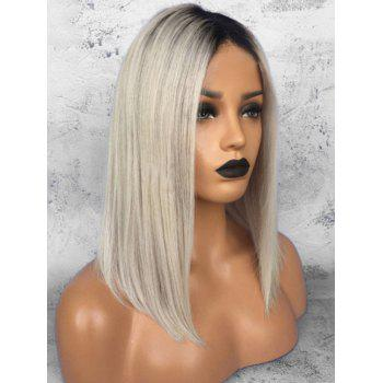 Center Parting Medium Ombre Synthetic Straight Wig - multicolor