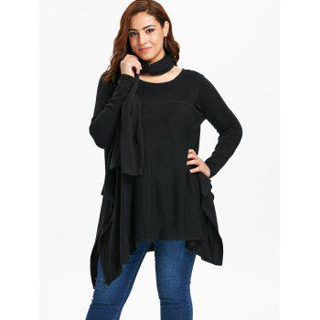 Long Sleeve Plus Size Asymmetrical Sweater with Scarf - BLACK 1X