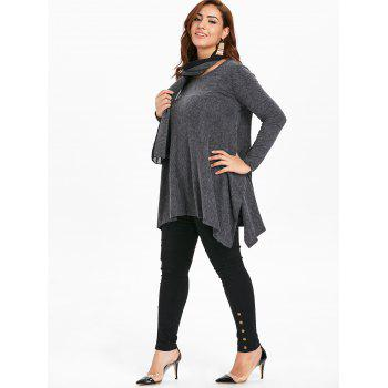Long Sleeve Plus Size Asymmetrical Sweater with Scarf - GRAY L