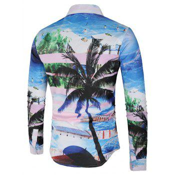 Hidden Button Coconut Tree and Beach Print Shirt - multicolor L