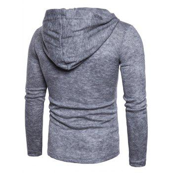 Long Sleeve Lace Up Hooded Sweater - LIGHT GRAY M