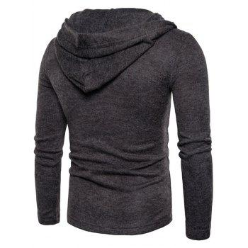 Long Sleeve Lace Up Hooded Sweater - DARK GRAY L