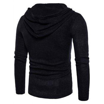 Long Sleeve Lace Up Hooded Sweater - BLACK L