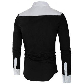 Long Sleeve Contrast Color Casual Shirt - BLACK 2XL