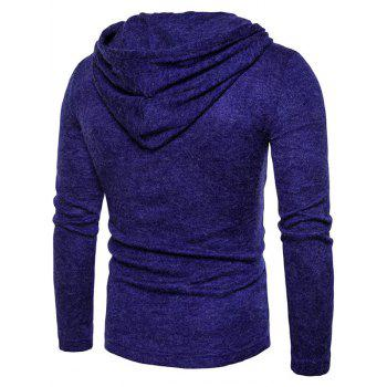 Long Sleeve Lace Up Hooded Sweater - BLUE M