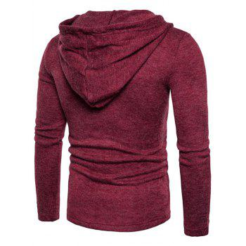 Long Sleeve Lace Up Hooded Sweater - RED WINE XL