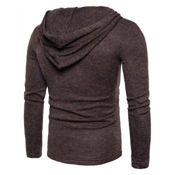 Long Sleeve Lace Up Hooded Sweater - COFFEE M