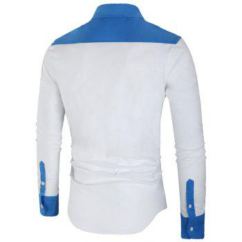 Long Sleeve Contrast Color Casual Shirt - WHITE 3XL