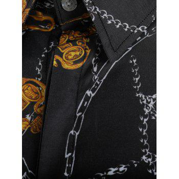 Button Up Key and Chain Print Shirt - multicolor 2XL