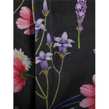 Flower and Butterfly Print Casual Shirt - multicolor M