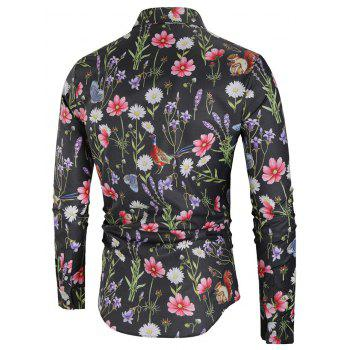 Flower and Butterfly Print Casual Shirt - multicolor L