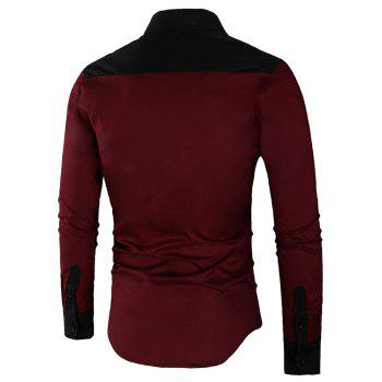Long Sleeve Contrast Color Casual Shirt - RED WINE XL