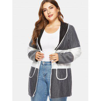 Ribbed Color Block Plus Size Hooded Coat - GRAY 4X