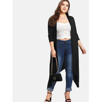 Asymmetrical Plus Size Longline Coat - BLACK 4X