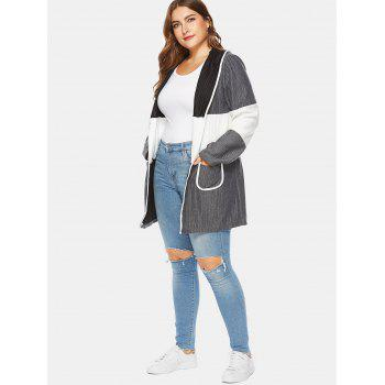 Ribbed Color Block Plus Size Hooded Coat - GRAY 3X