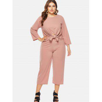Plus Size Round Neck Top and Wide Leg Pants - ORANGE PINK 4X