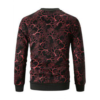 Tree Print Crew Neck Sweatshirt - RED WINE 2XL