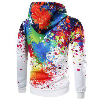 Kangaroo Pocket Paint Splatter Hoodie - WHITE L