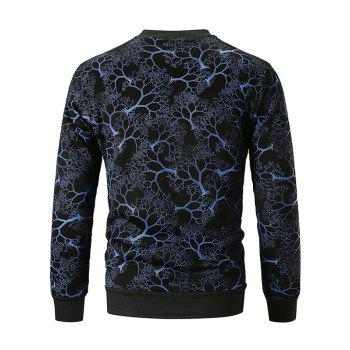 Tree Print Crew Neck Sweatshirt - BLUE L