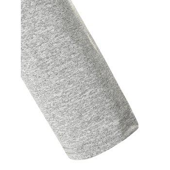 Long Sleeve Space Dye Casual T-shirt - LIGHT GRAY L