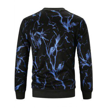 Lightning Print Pullover Sweatshirt - BLUE XL