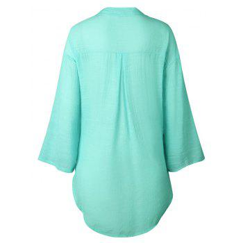 High Low Button Up Tunic Shirt - LIGHT AQUAMARINE 2XL