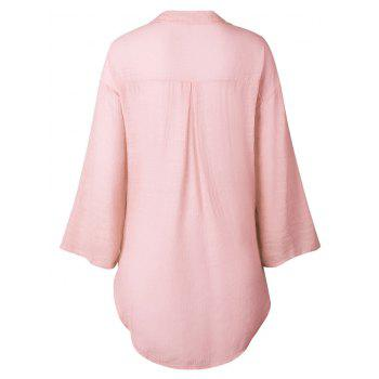High Low Button Up Tunic Shirt - PINK XL