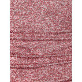 Long Sleeve Space Dye Casual T-shirt - RED WINE L