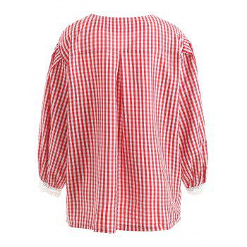 Button Detail Plus Size Gingham Shirt - RED 4X
