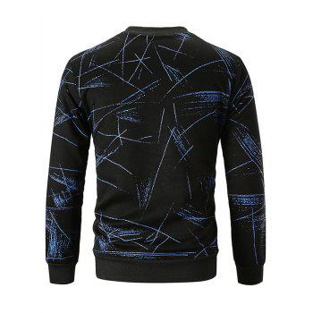 Allover Line Print Casual Sweatshirt - BLUE L