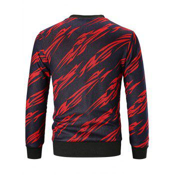 Sweatshirt Imprimé Allover à Col Rond - Rouge Vineux 2XL