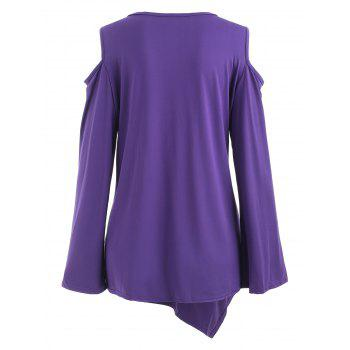 Lace Panel Plus Size Cold Shoulder T-shirt - PURPLE 3X